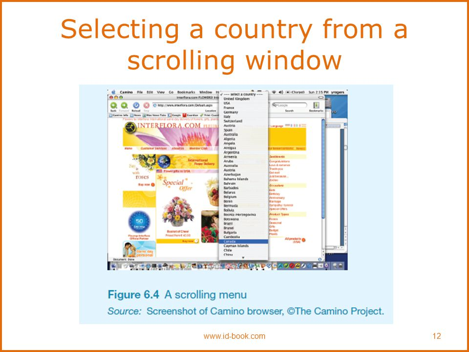 Selecting a country from a scrolling window