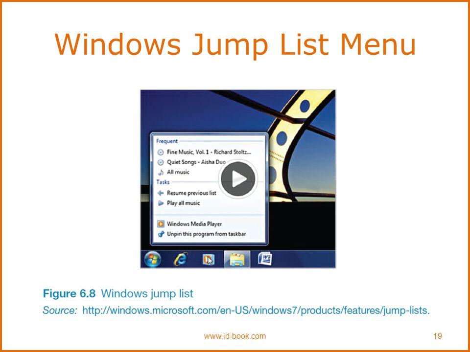 Windows Jump List Menu www.id-book.com