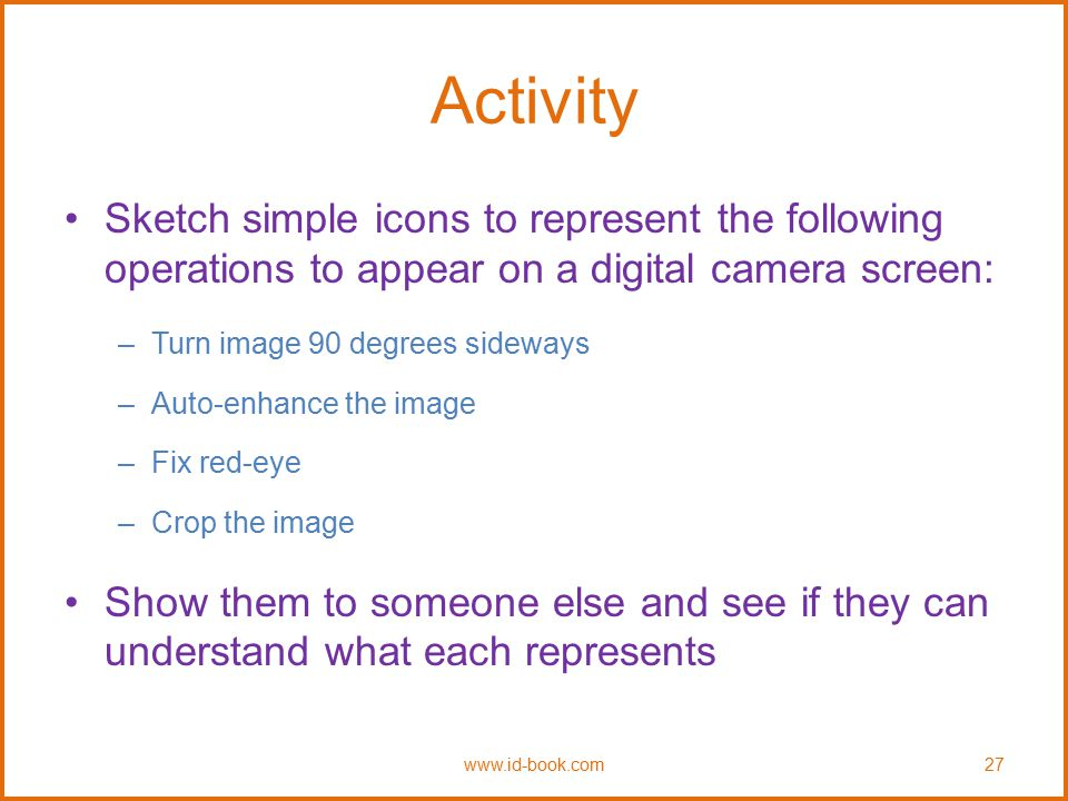 Activity Sketch simple icons to represent the following operations to appear on a digital camera screen: