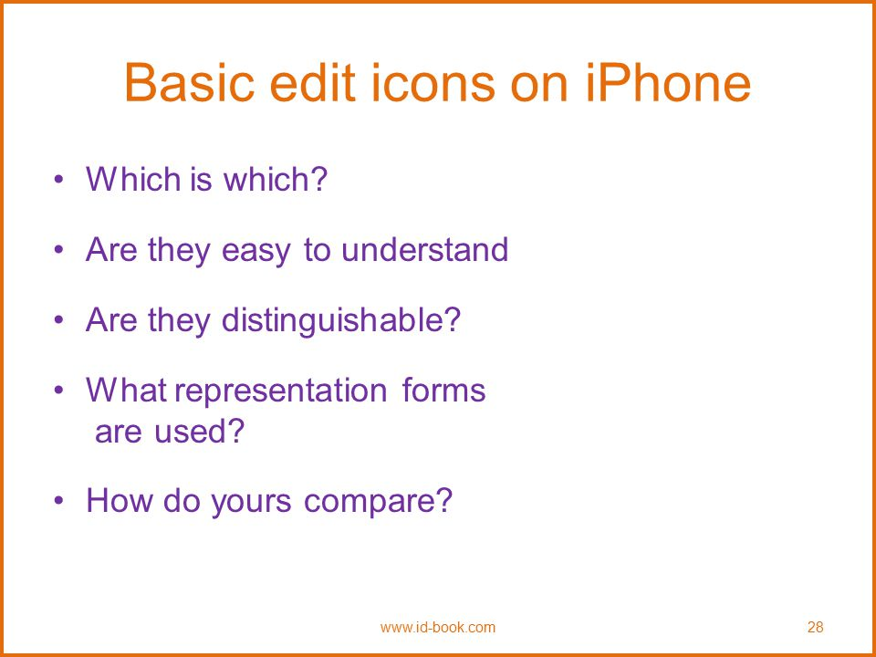 Basic edit icons on iPhone