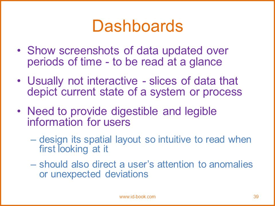 Dashboards Show screenshots of data updated over periods of time - to be read at a glance.