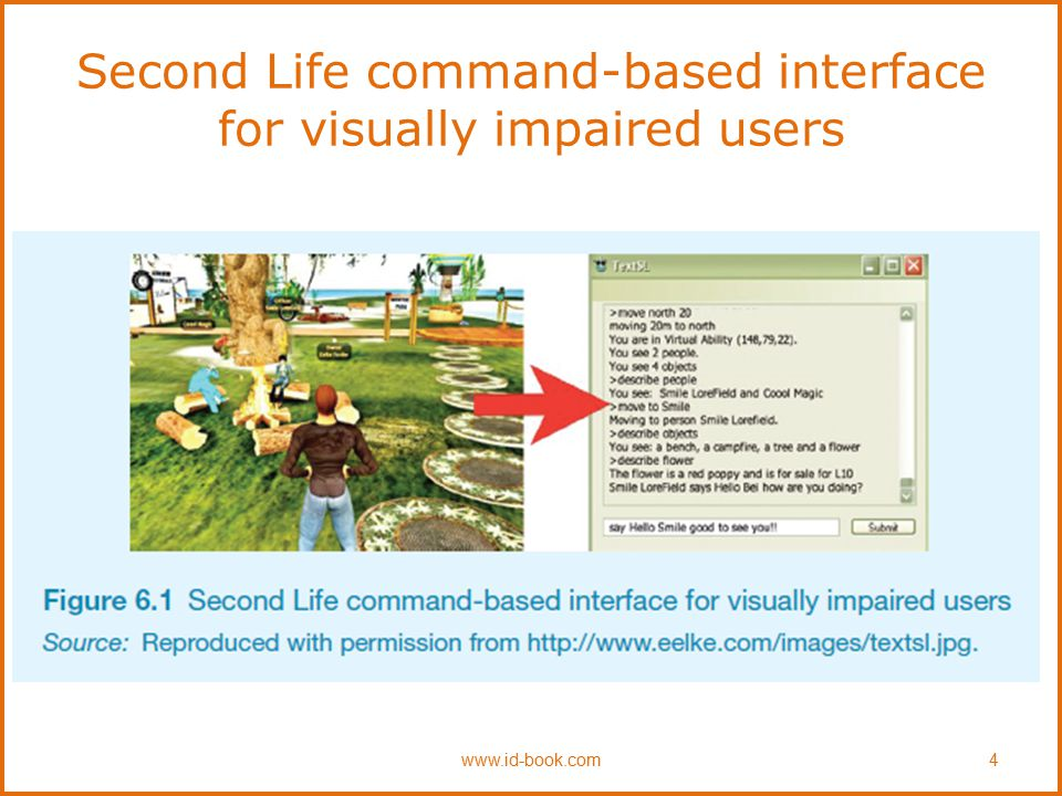 Second Life command-based interface for visually impaired users