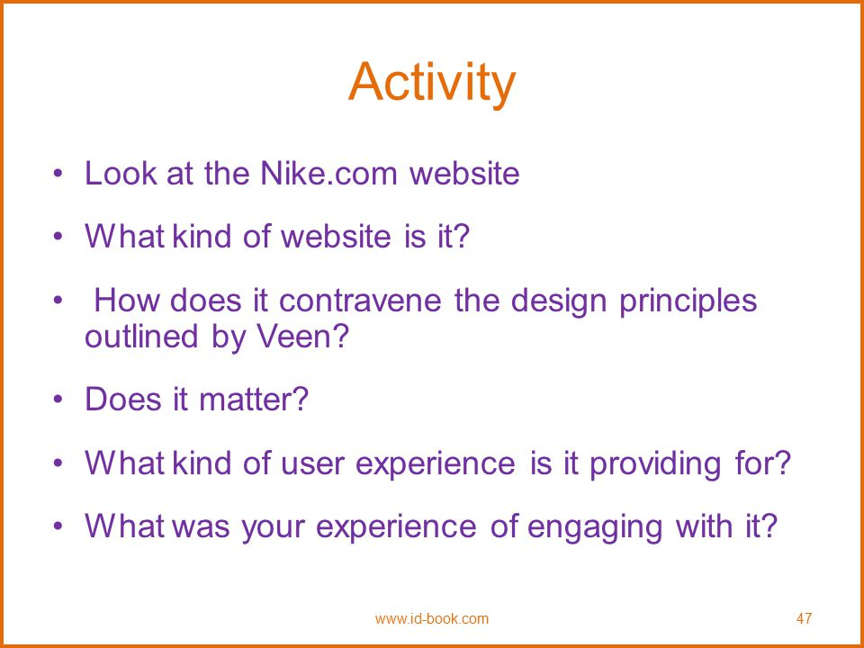 Activity Look at the Nike.com website What kind of website is it