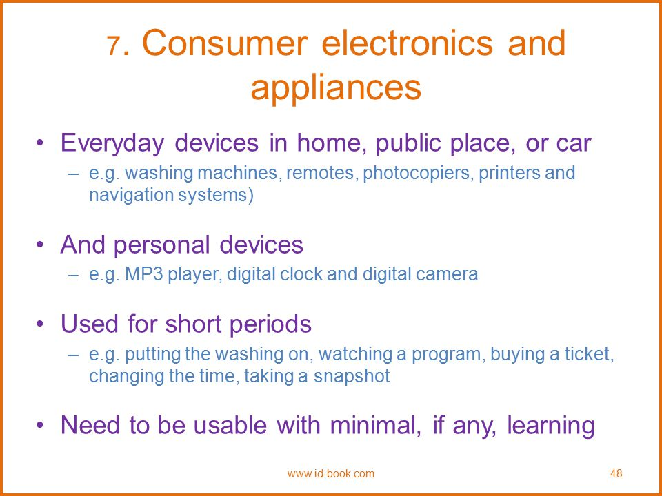 7. Consumer electronics and appliances