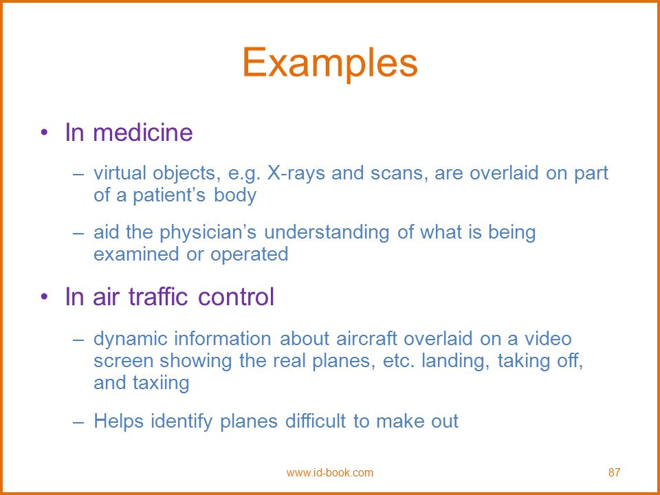 Examples In medicine In air traffic control