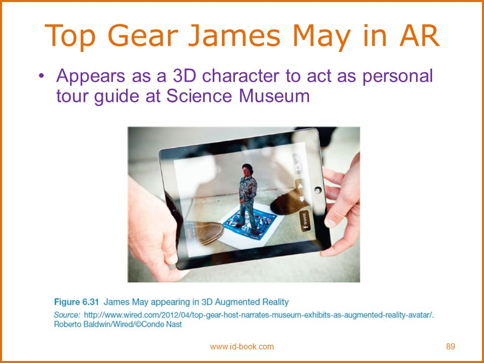 Top Gear James May in AR Appears as a 3D character to act as personal tour guide at Science Museum.