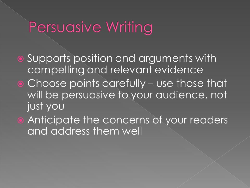 Persuasive Writing Supports position and arguments with compelling and relevant evidence.