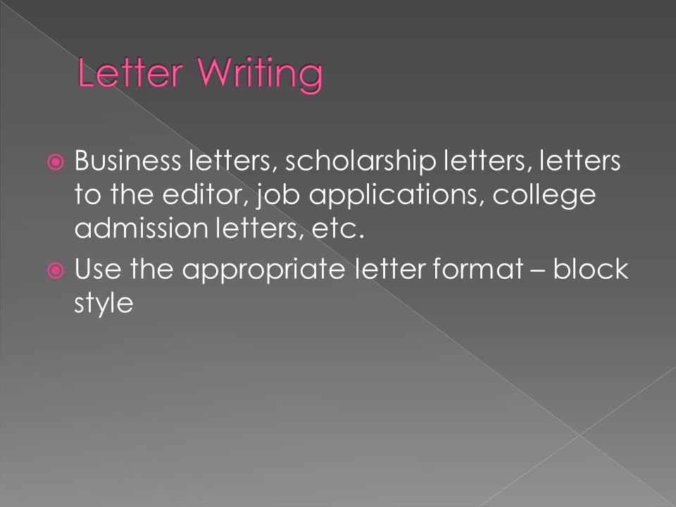 Letter Writing Business letters, scholarship letters, letters to the editor, job applications, college admission letters, etc.