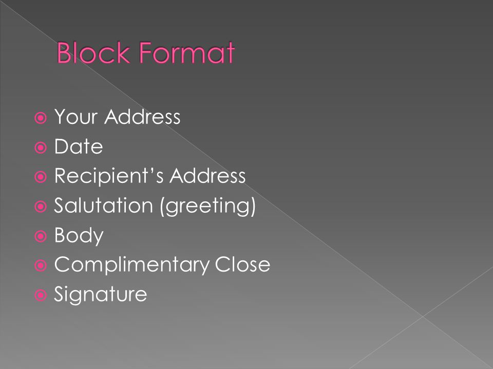 Block Format Your Address Date Recipient's Address