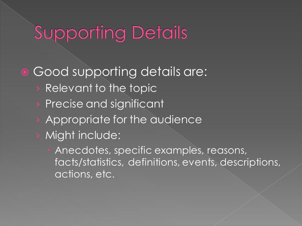 Supporting Details Good supporting details are: Relevant to the topic