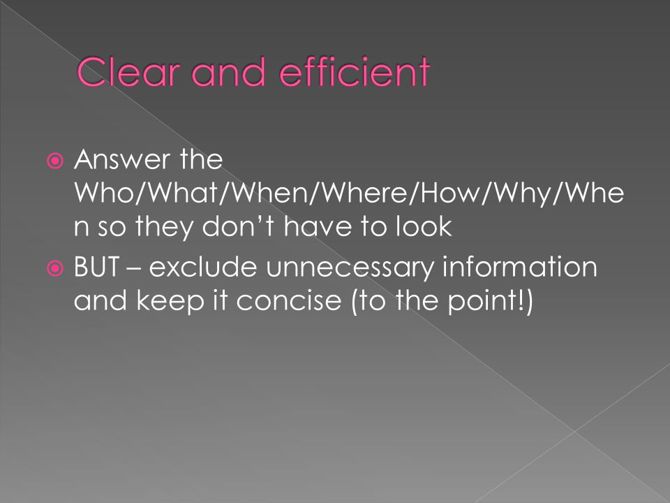 Clear and efficient Answer the Who/What/When/Where/How/Why/When so they don't have to look.