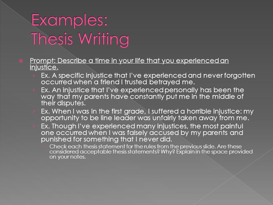 Examples: Thesis Writing