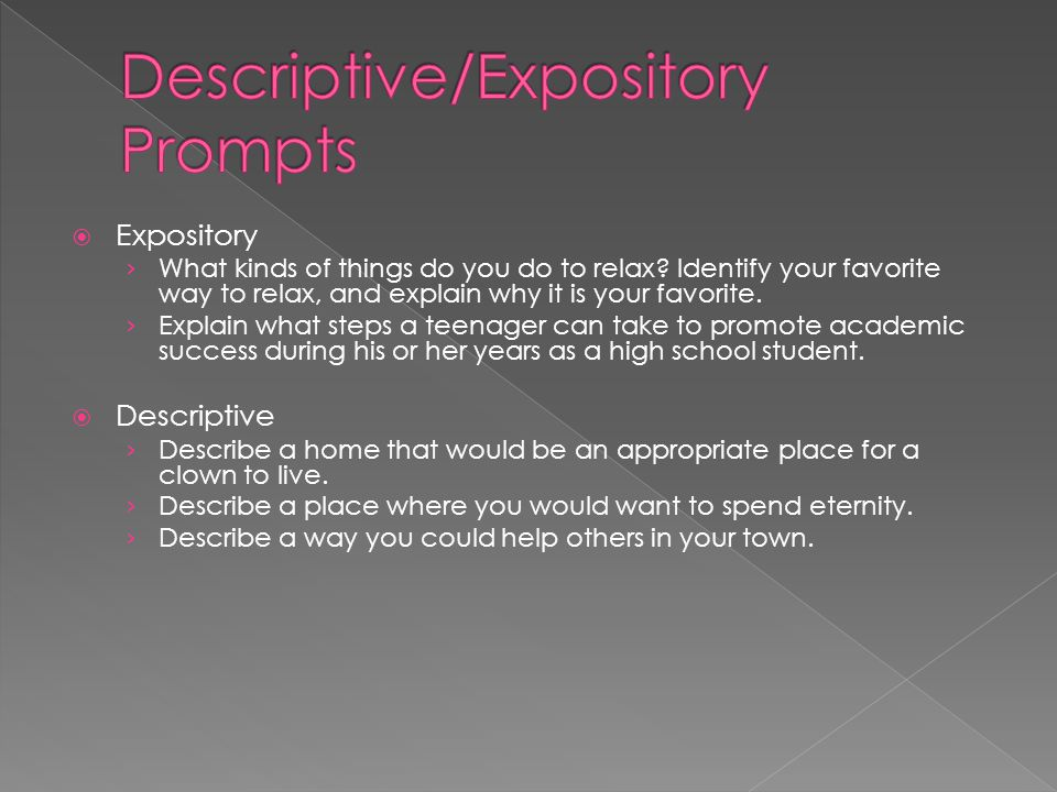Descriptive/Expository Prompts