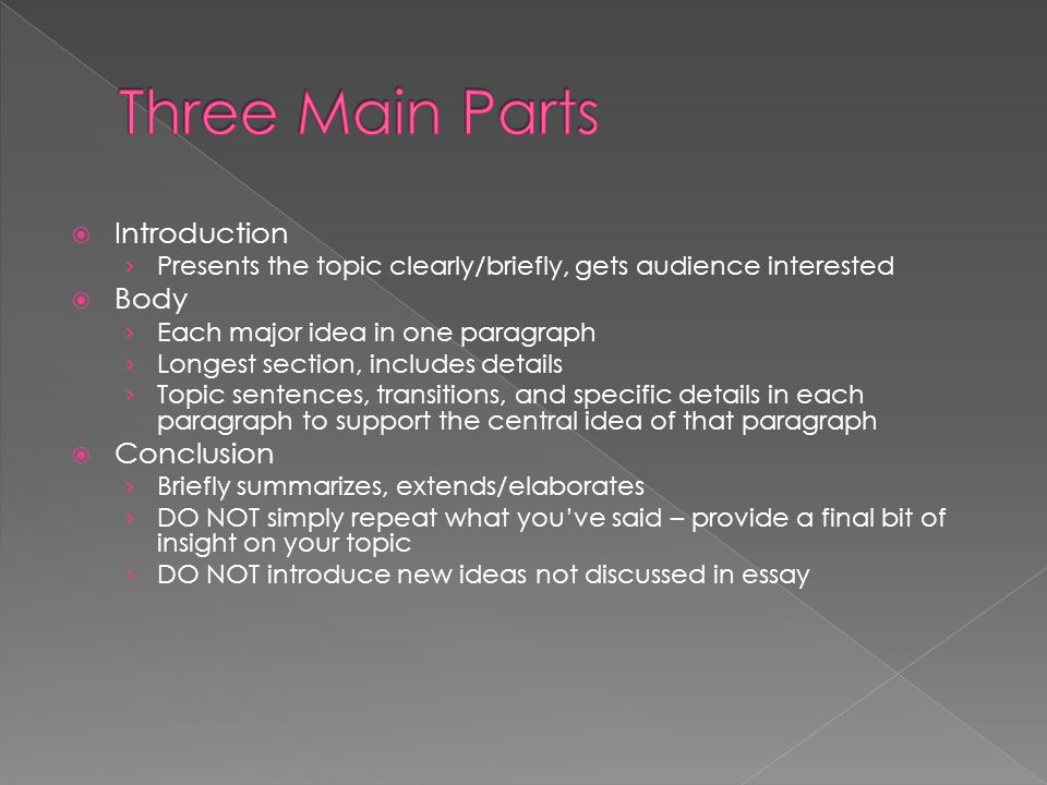 Three Main Parts Introduction Body Conclusion