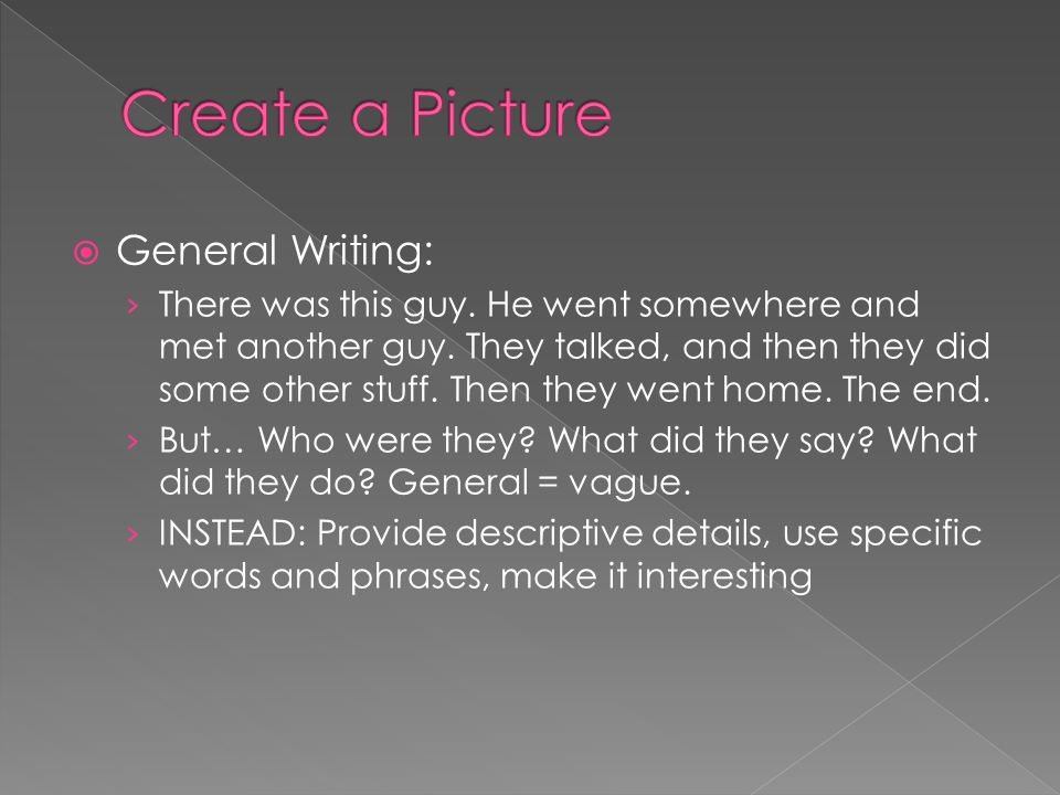 Create a Picture General Writing: