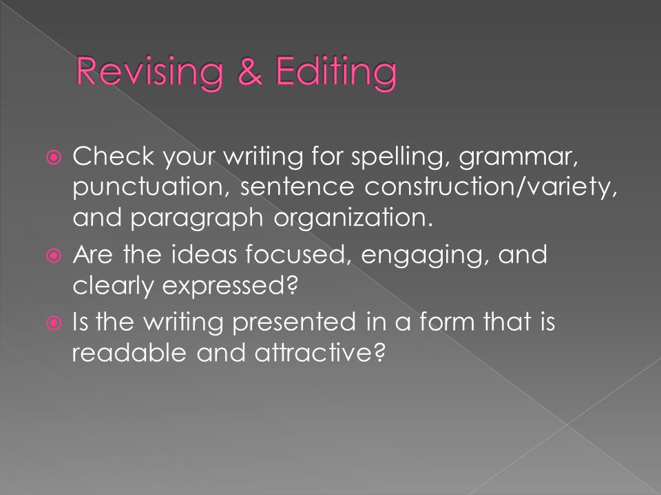 Revising & Editing Check your writing for spelling, grammar, punctuation, sentence construction/variety, and paragraph organization.