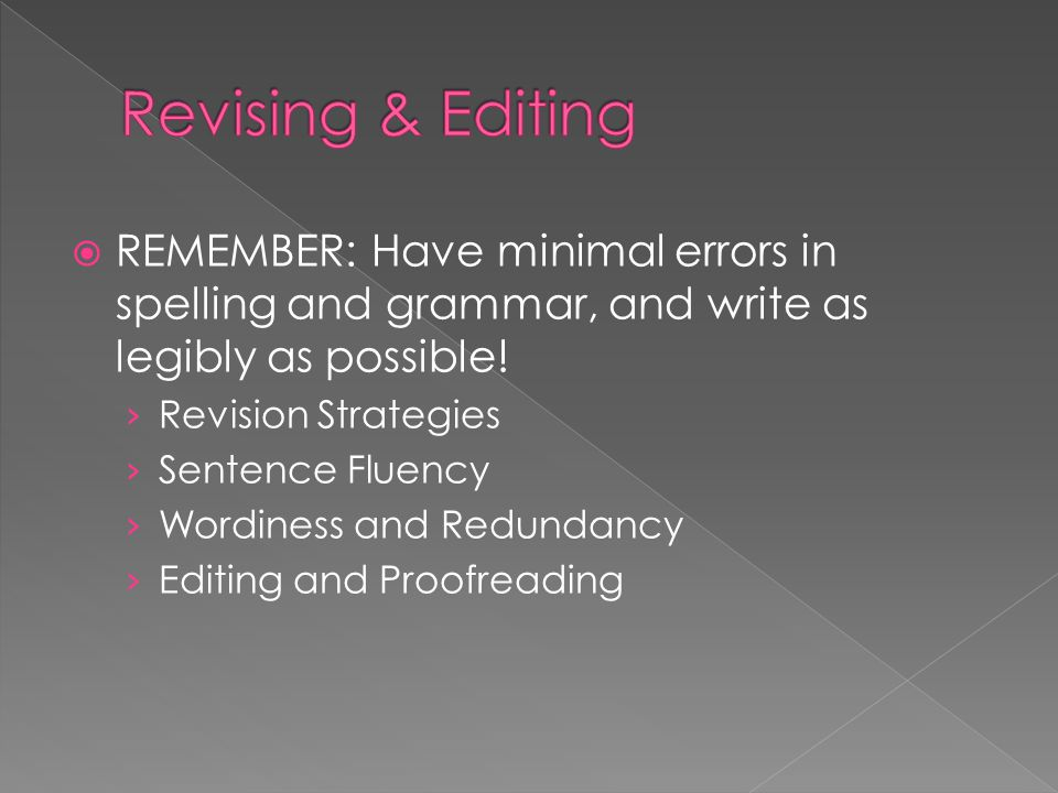 Revising & Editing REMEMBER: Have minimal errors in spelling and grammar, and write as legibly as possible!