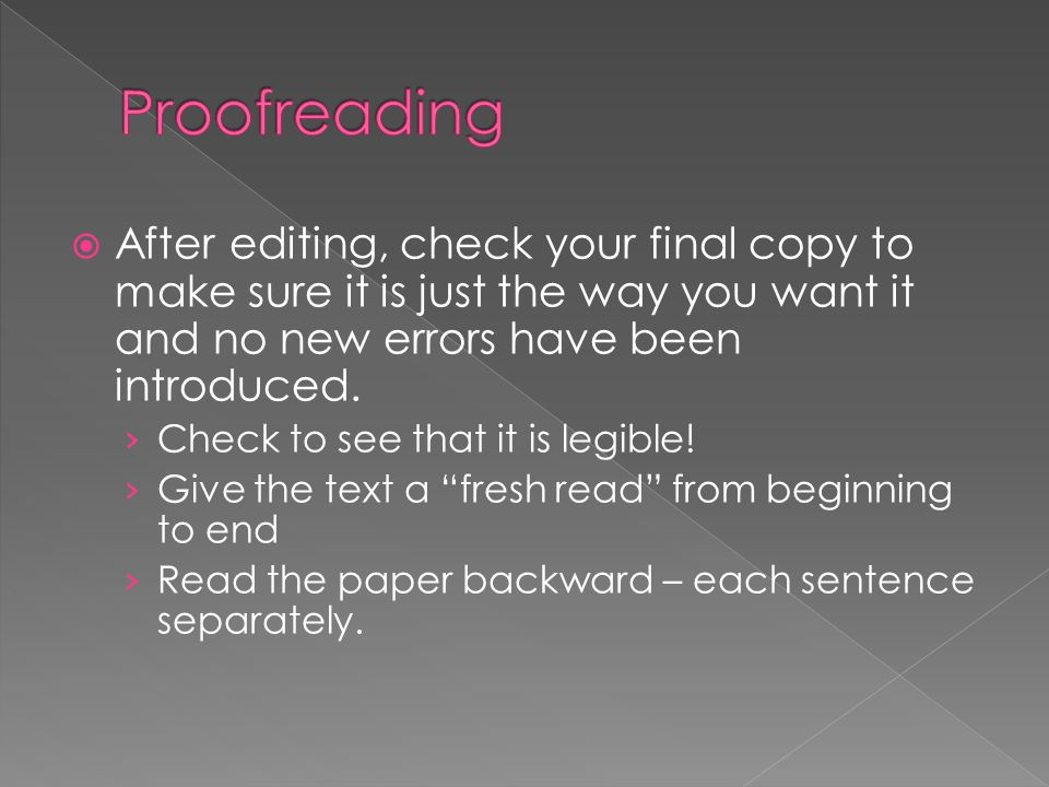 Proofreading After editing, check your final copy to make sure it is just the way you want it and no new errors have been introduced.
