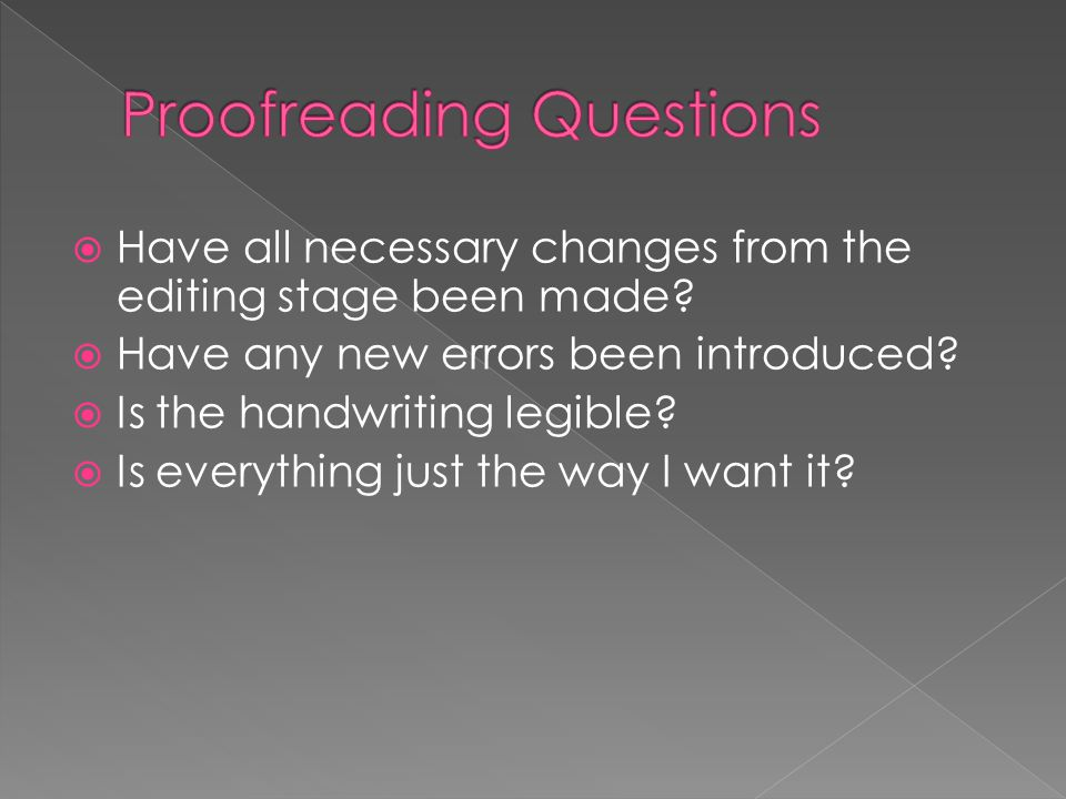 Proofreading Questions