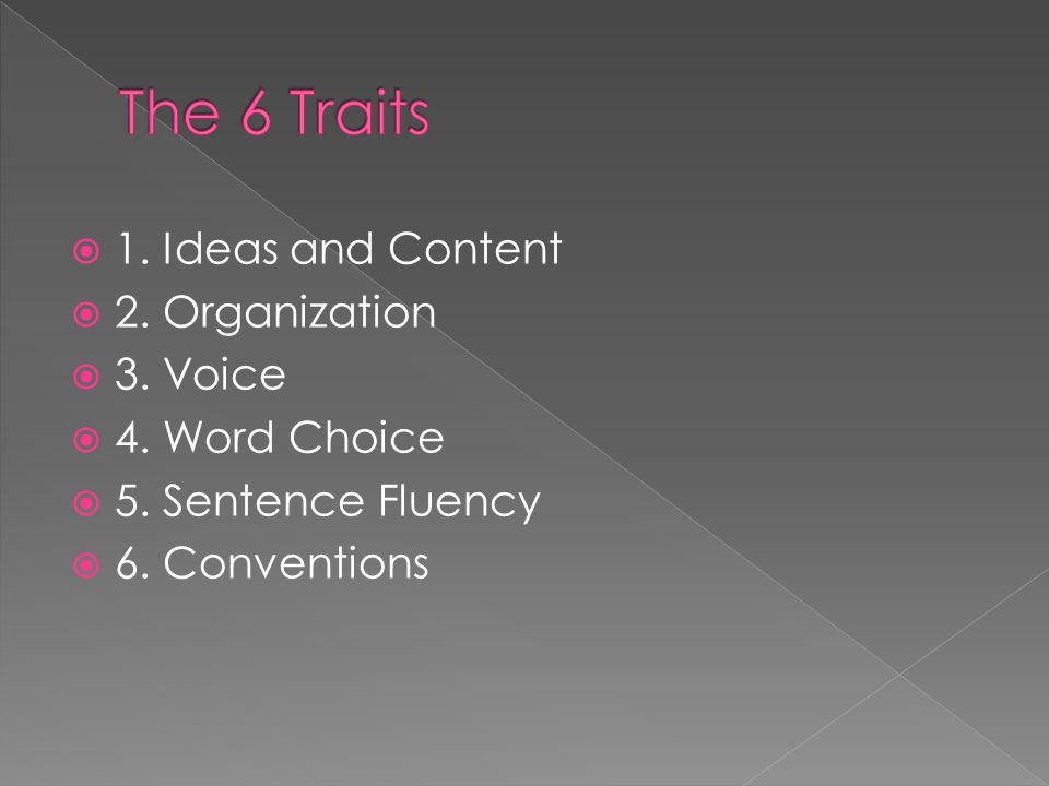 The 6 Traits 1. Ideas and Content 2. Organization 3. Voice