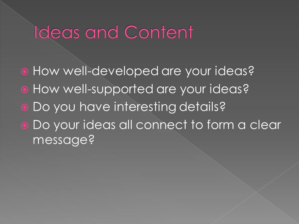 Ideas and Content How well-developed are your ideas
