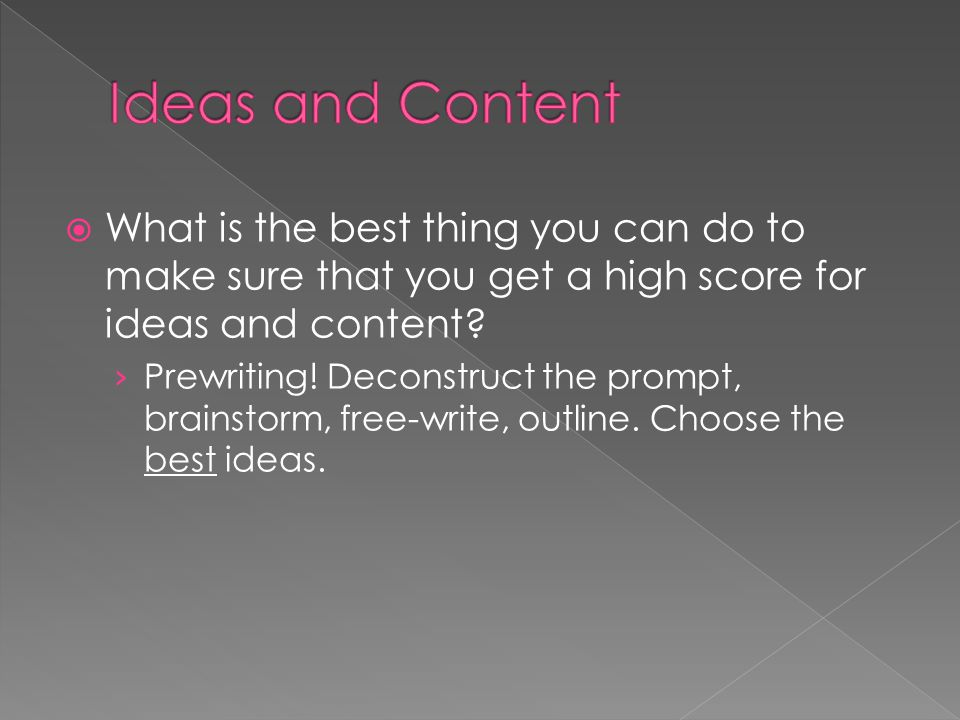 Ideas and Content What is the best thing you can do to make sure that you get a high score for ideas and content
