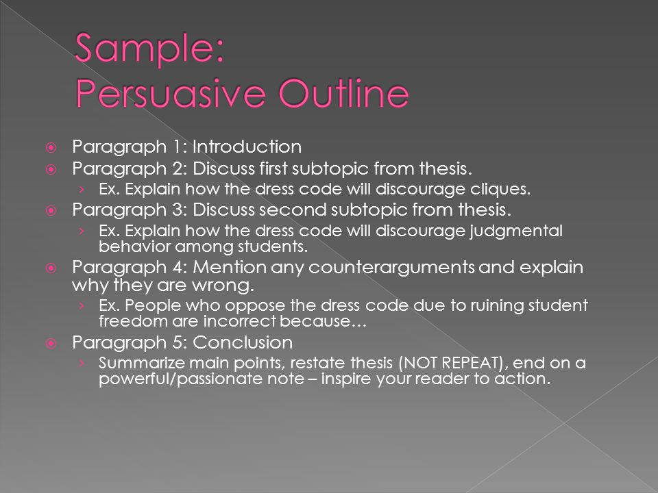 Sample: Persuasive Outline
