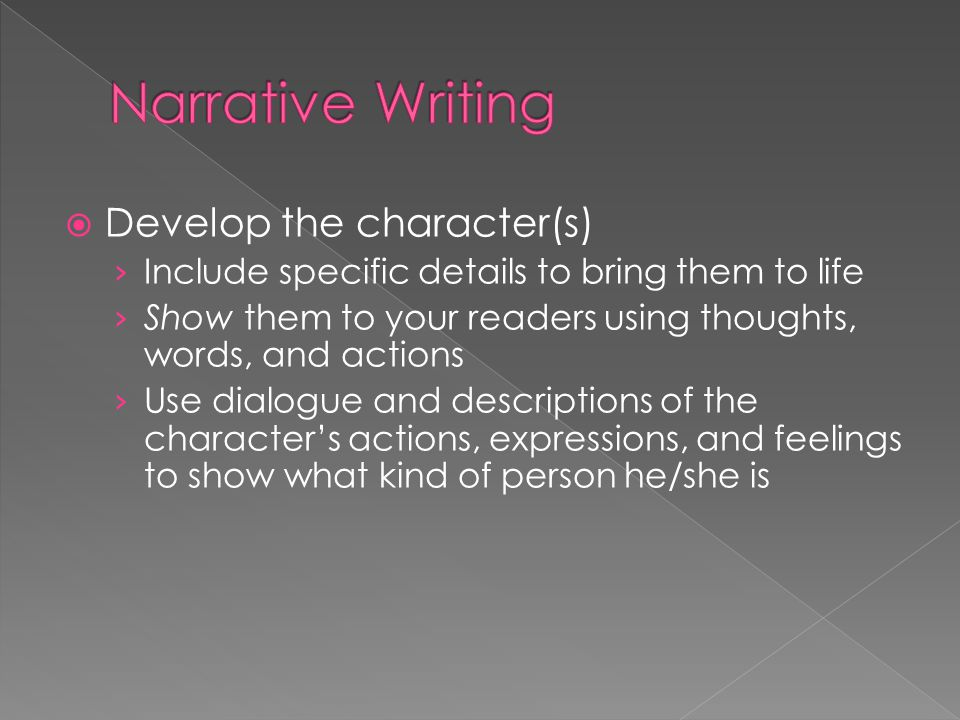 Narrative Writing Develop the character(s)