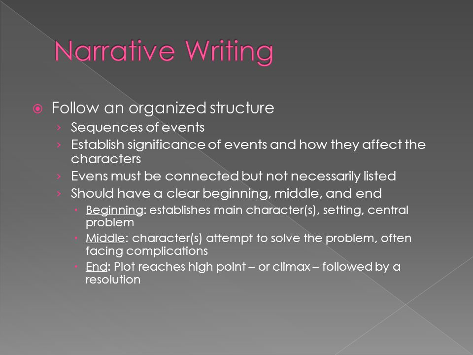 Narrative Writing Follow an organized structure Sequences of events