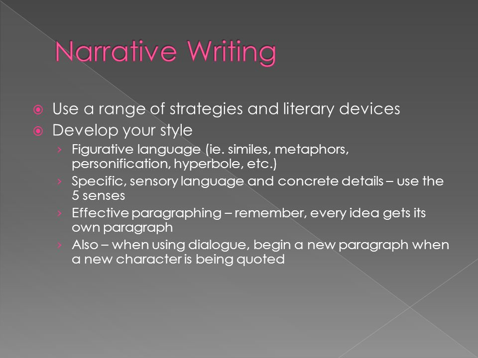 Narrative Writing Use a range of strategies and literary devices
