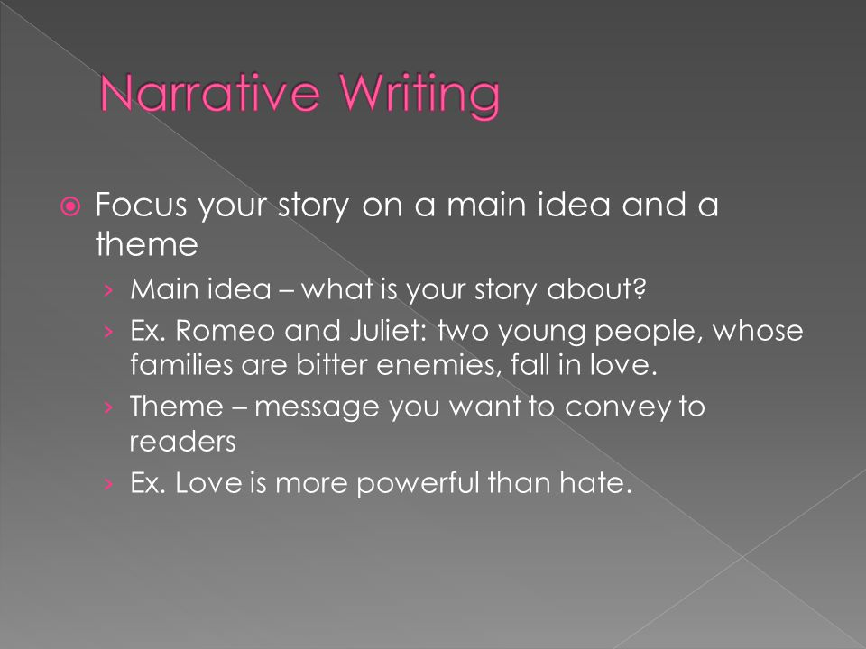 Narrative Writing Focus your story on a main idea and a theme