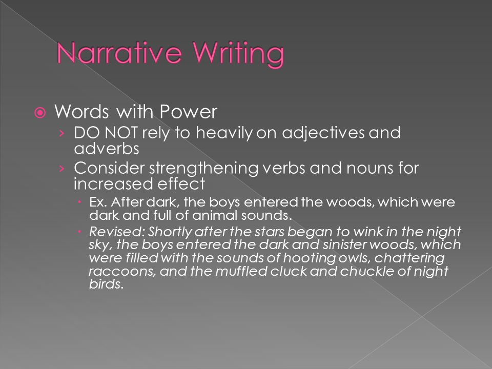 Narrative Writing Words with Power