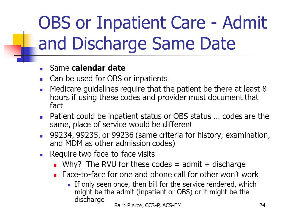 OBS or Inpatient Care - Admit and Discharge Same Date