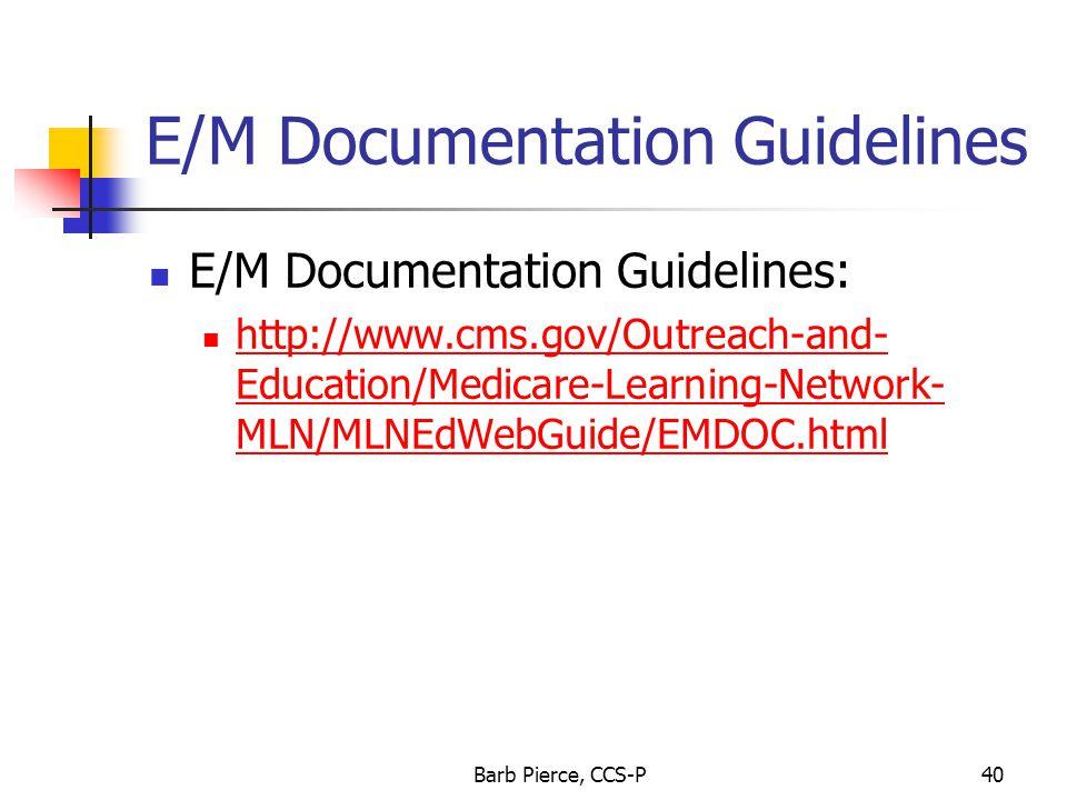 E/M Documentation Guidelines