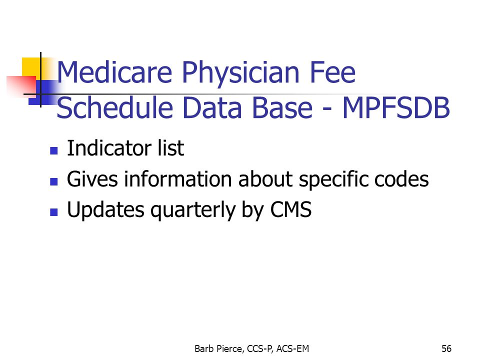 Medicare Physician Fee Schedule Data Base - MPFSDB