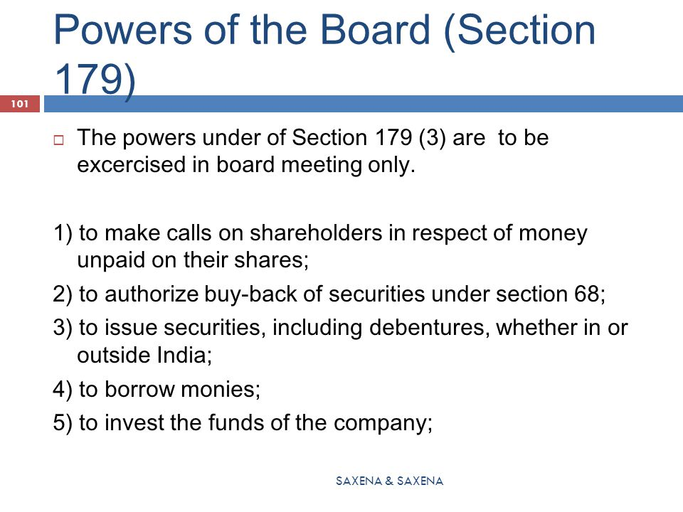 Powers of the Board (Section 179)
