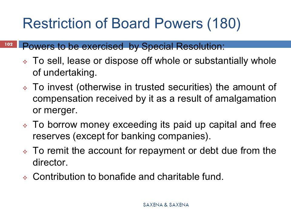 Restriction of Board Powers (180)