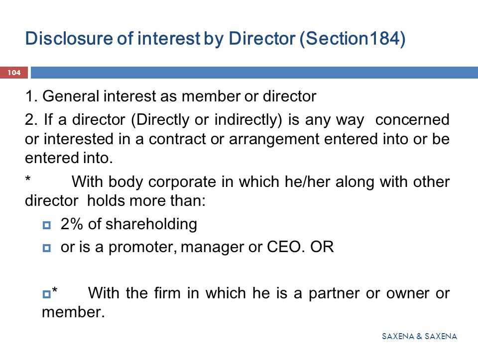 Disclosure of interest by Director (Section184)