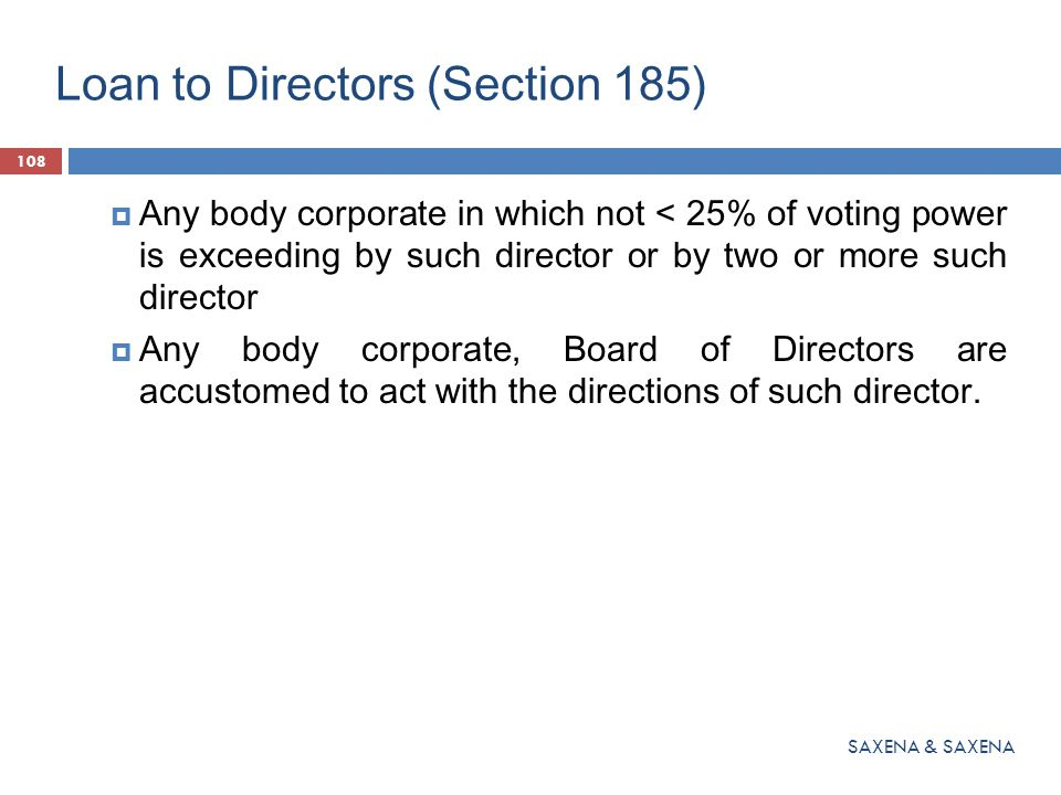 Loan to Directors (Section 185)