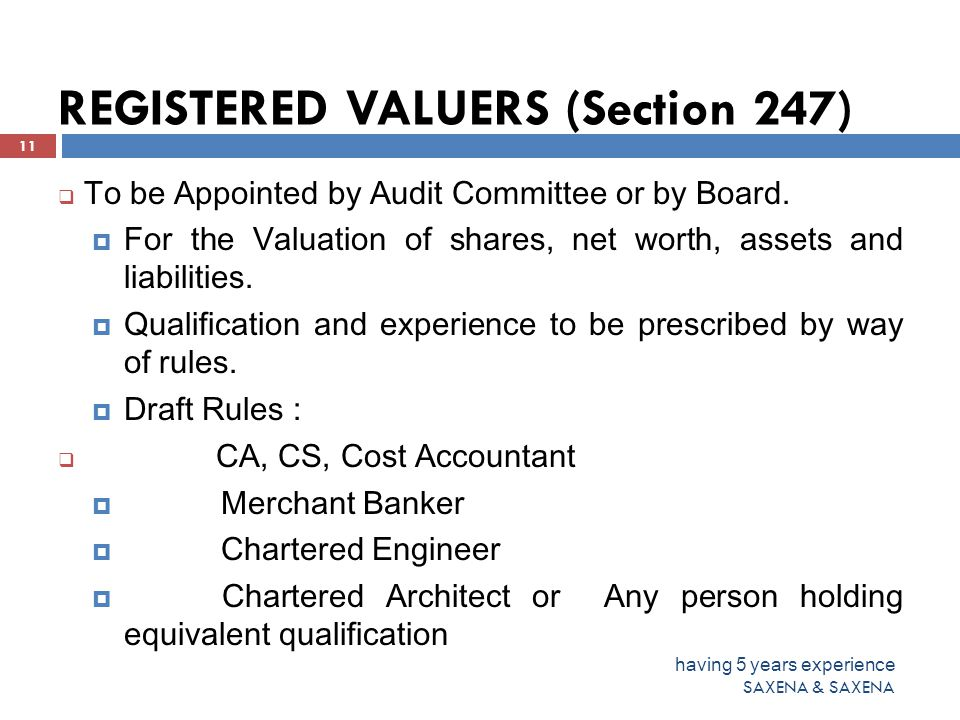 REGISTERED VALUERS (Section 247)