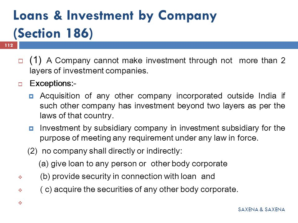 Loans & Investment by Company (Section 186)