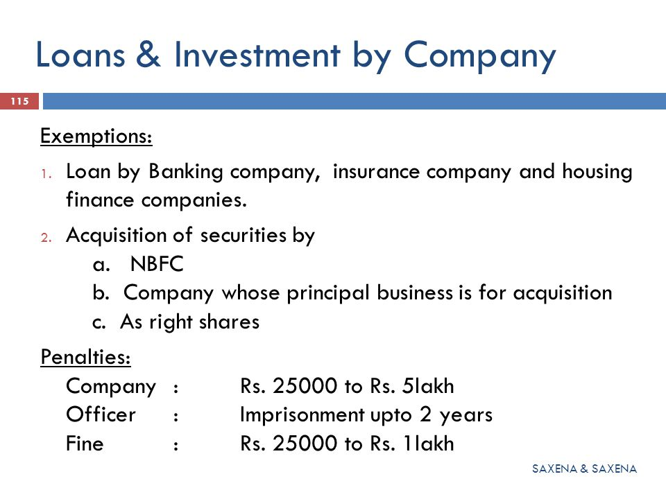 Loans & Investment by Company