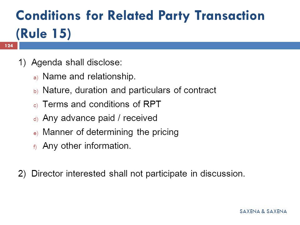 Conditions for Related Party Transaction (Rule 15)