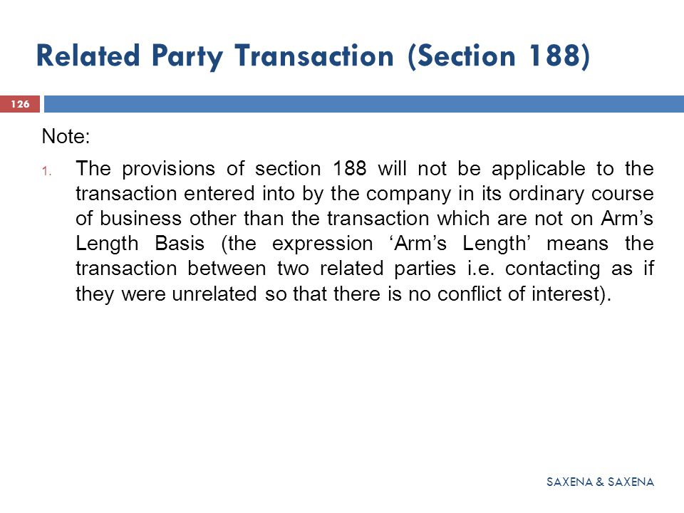 Related Party Transaction (Section 188)