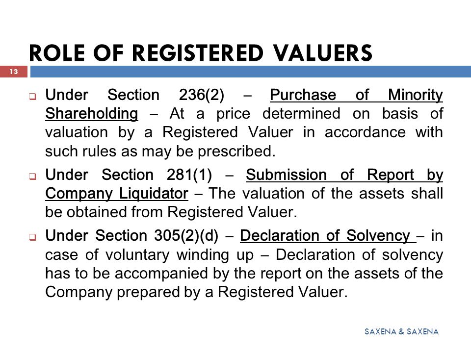 ROLE OF REGISTERED VALUERS