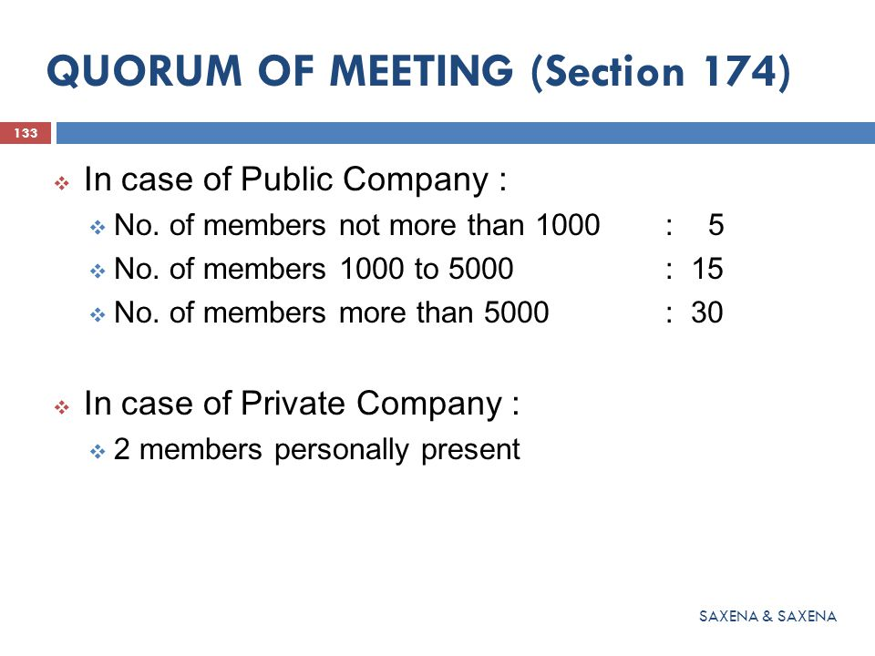 QUORUM OF MEETING (Section 174)