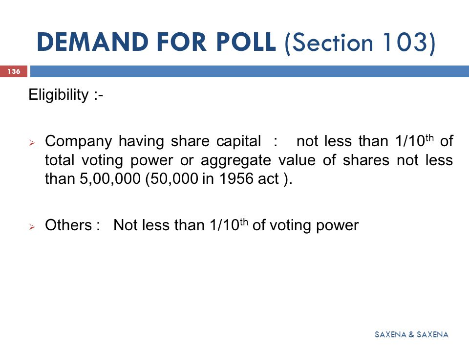 DEMAND FOR POLL (Section 103)