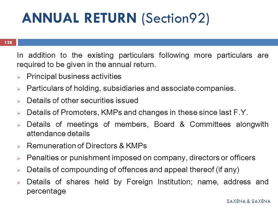 ANNUAL RETURN (Section92)