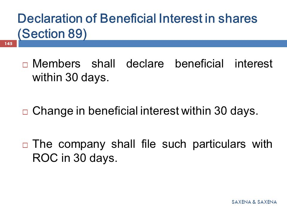 Declaration of Beneficial Interest in shares (Section 89)