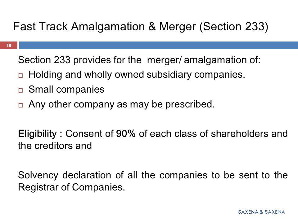 Fast Track Amalgamation & Merger (Section 233)